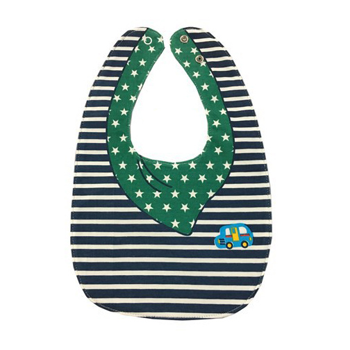 Striped Star Car Bowknot Double-sided Cartoon Buttons Baby Bibs Bibs Color: Black, White, Green