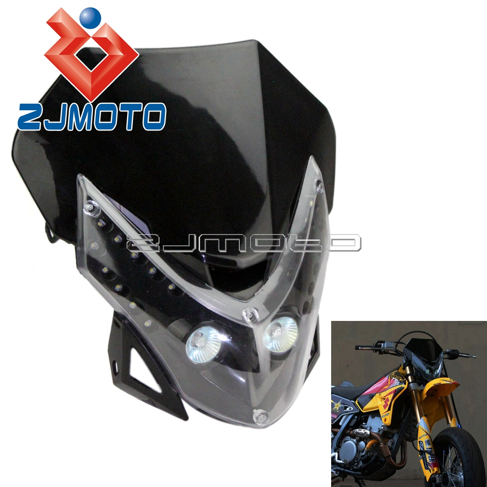 zjmoto motorcycle universal street fighter fairing dirt bike black headlamp for suzuki drz. Black Bedroom Furniture Sets. Home Design Ideas