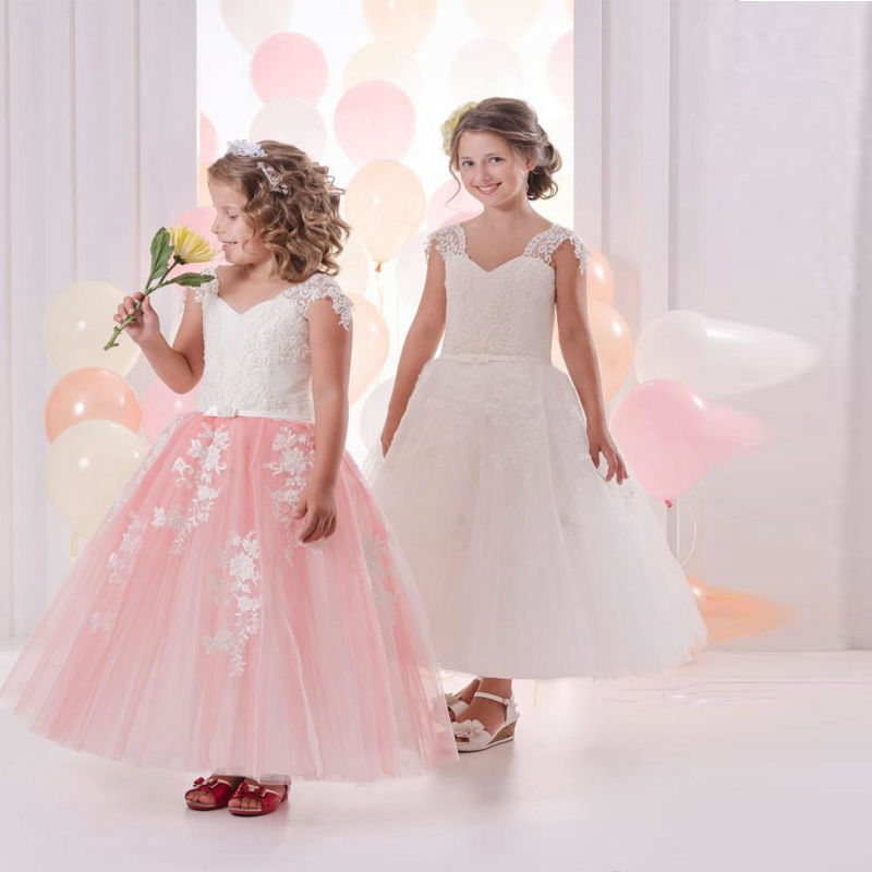 2017 New Pink Flower Girl Dresses Lace Tulle Ball Gown Vintage V-Neck Sleeveless Appliques Formal First Communion Gowns Vestidos