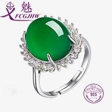 3306db42a7a8b Anéis para As Mulheres 925 Prata Esterlina Jóias Finas Solitaire Oval Forma  Verde Calcedônia com Zircon Clássico Presente Do Par.