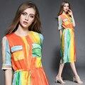 Реального пятно-Новая Полоса тонкий шелковое платье печати OL платье рубашка 9126