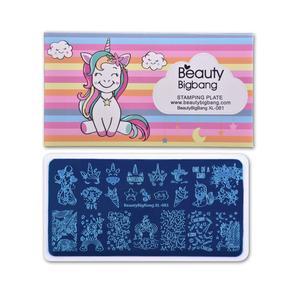 Image 2 - Beautybigbang placas de carimbo 6*12cm nuvem estrela bonito unicórnio padrão prego arte molde ferramenta acessórios carimbar placa impressão XL 081
