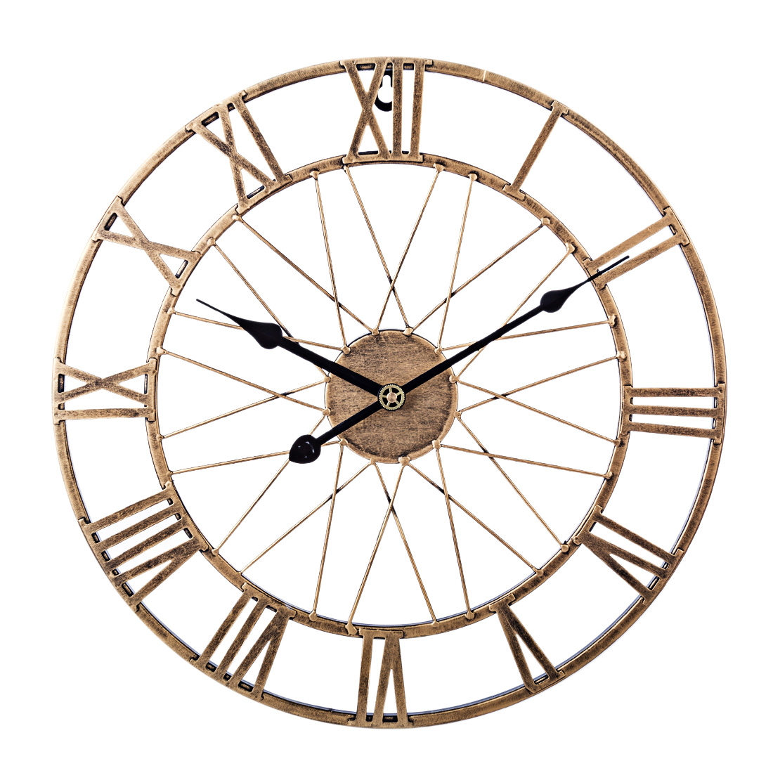 40cm Iron Art Hollow Silent Wall Clock Mute Clock With Roman Numerals For Living Room Bedroom Decor - Vintage Golden