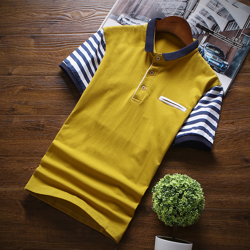 Spliced Mens Tee Shirt Comfortable Stripe Male Blouses Breathable Button Gray White Dark Blue Yellow Male Blouses