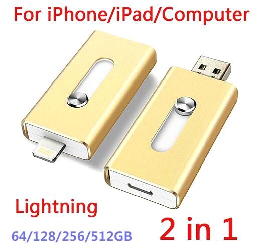 Usb 3.0 para iphone 6, 6 s más 5 5S 7 puls ipad metal pen drive hd otg micro flash memory stick móvil de doble propósito drive 16-64 gb
