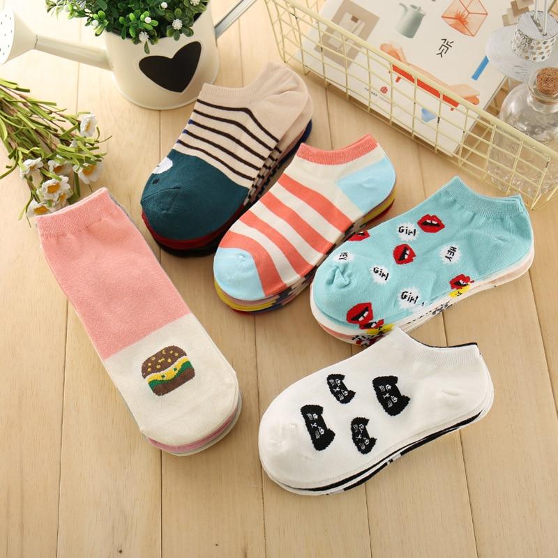 10 Pairs/Lot Printed Short Socks Women Unisex Cute Low Cut Ankle Socks Multiple Colors Women's Casual Socks