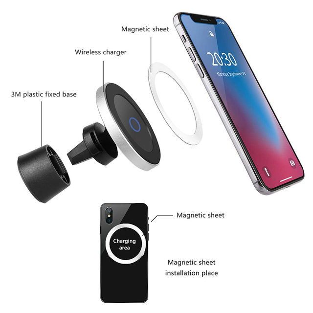 Magnetic Phone Holder With Wireless Car Charger for iPhone