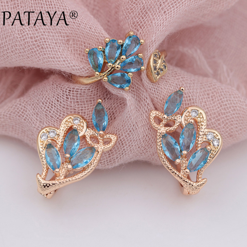 PATAYA New 585 Rose Gold Water Drop Horse Eye Blue Natural Zircon Earrings Up Open Rings Sets Women Wedding Party Trendy Jewelry цена
