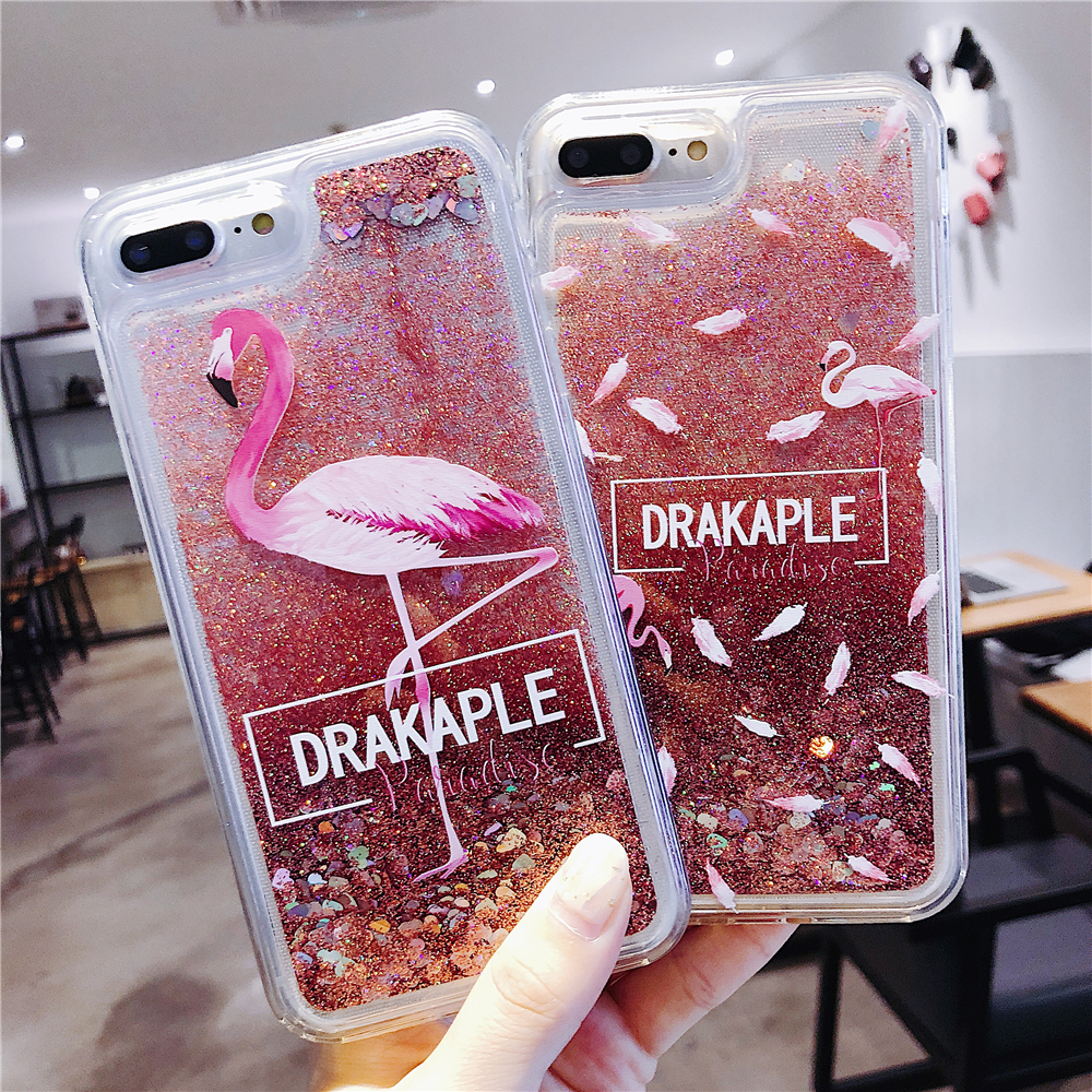 Flamingo Liquid For iPhone 6 6S 7 8 Plus X Phone Case Quicksand Silicone Cover bag