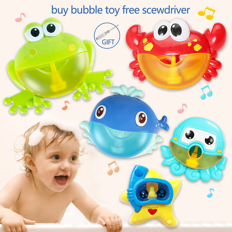 Dropship New 5 Bubble Bath Toy For Children With Sucker Bubble Maker Music Bathroom Shower Bathtub Soap Bubble Machine Water Toy