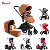 2017 Pouch Luxury Leathe High Landscape Baby Stroller Folding Stroller With Bassinets Can Sit Or Lie