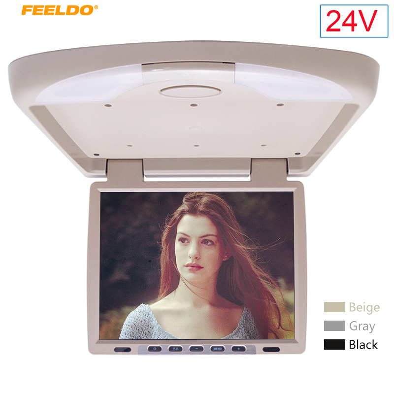 FEELDO DC24V 14.1 Inch Car Bus TFT LCD Roof Mounted Monitor Flip Down Monitor 2-Way Video Input with IR Transmitt 3-Color #1290