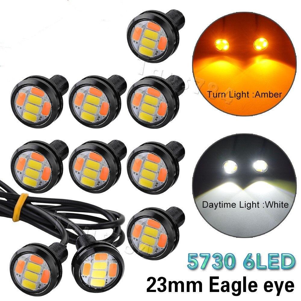 Голубой залив почвы 10шт постоянного тока 12В 23ММ 5730 6 LED орлиный глаз дневные ходовые свет DRL двойной Цвет сигнала поворота switchback Лампа