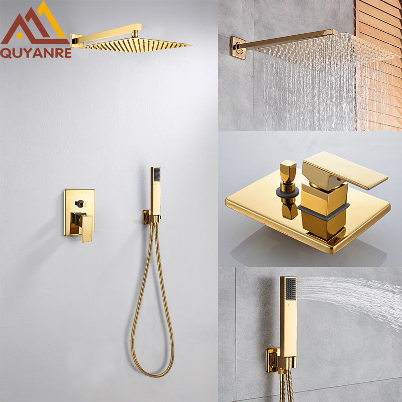 Quyanre Wall Mount Golden Shower Faucets Set Ultrathin Rainfall Gold Shower Hot Cold Water Mixer Tap Bathroom Gold Shower Kit