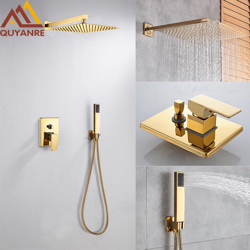 Quyanre Wall Mount Golden Shower Faucets Set Ultrathin Rainfall Gold Shower Hot Cold Water Mixer Tap Bathroom Gold Shower Kit