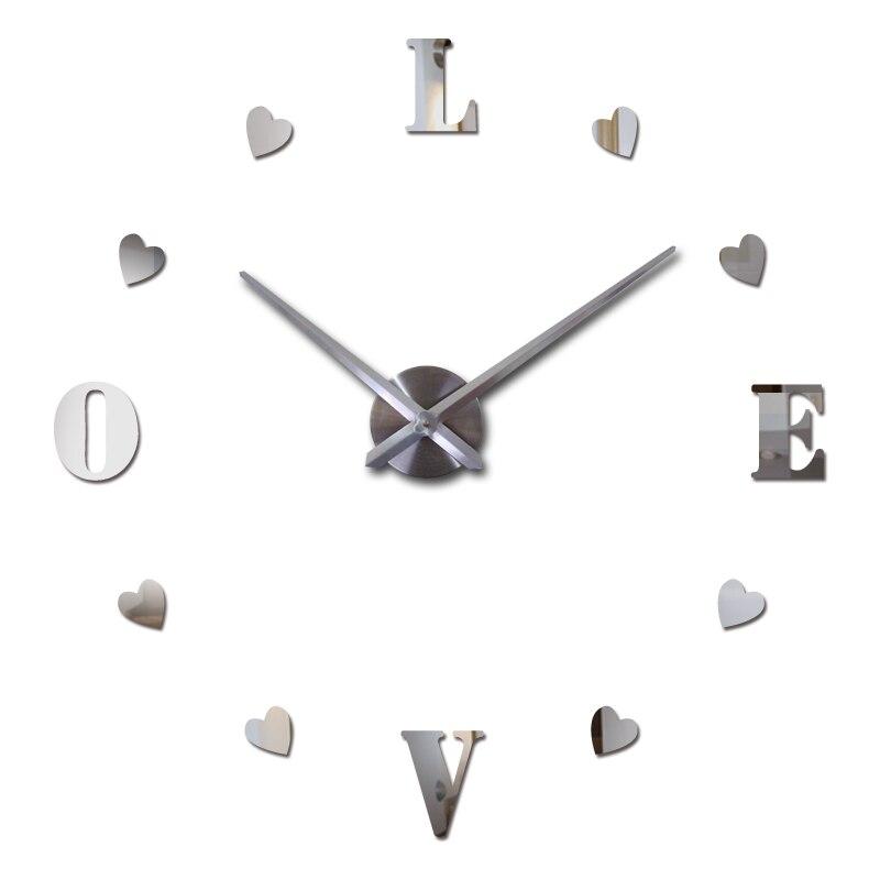 2019 Nové diy Nástěnné hodiny Akrylové diy Hodiny Křemenné hodinky Reloj De Pared Obývací pokoj Moderní 3d Zrcadlové samolepky Horloge Home Klok