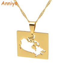 Anniyo Canada Map Pendant Necklaces for Women Jewelry Country Maps of Canadian Chain #021321(China)