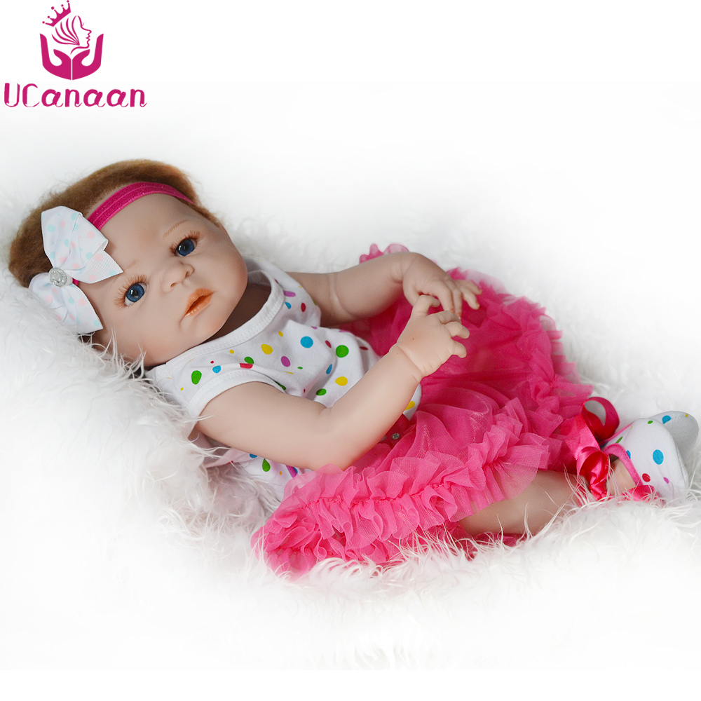 UCanaan 22Inch/ 55CM Full Vinyl Silicone Reborn Dolls Blue Eyes Baby Alive Newborn Girl Princess Toys Chirstmas Gift For Kids lps pet shop toys rare black little cat blue eyes animal models patrulla canina action figures kids toys gift cat free shipping