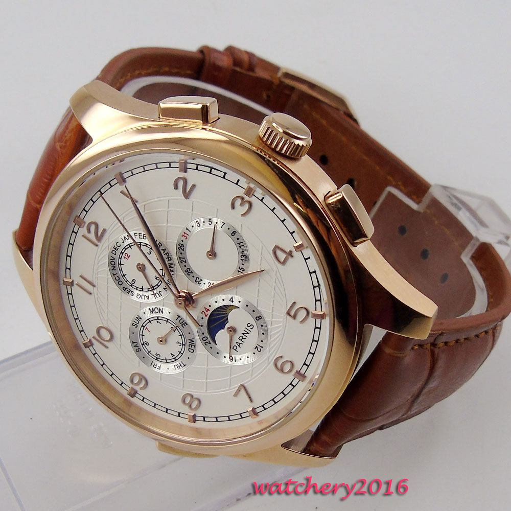 NEW Arrive 44mm PARNIS White Dial Date Indicator Rose Golden Case Moon Phase Luxury Brand Automatic Movement mens WatchNEW Arrive 44mm PARNIS White Dial Date Indicator Rose Golden Case Moon Phase Luxury Brand Automatic Movement mens Watch