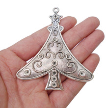 3 x Tibetan Antique Silver Tone Christmas Tree Plant Charms Pendants for Necklaces Jewelry Making Findings 78x67mm