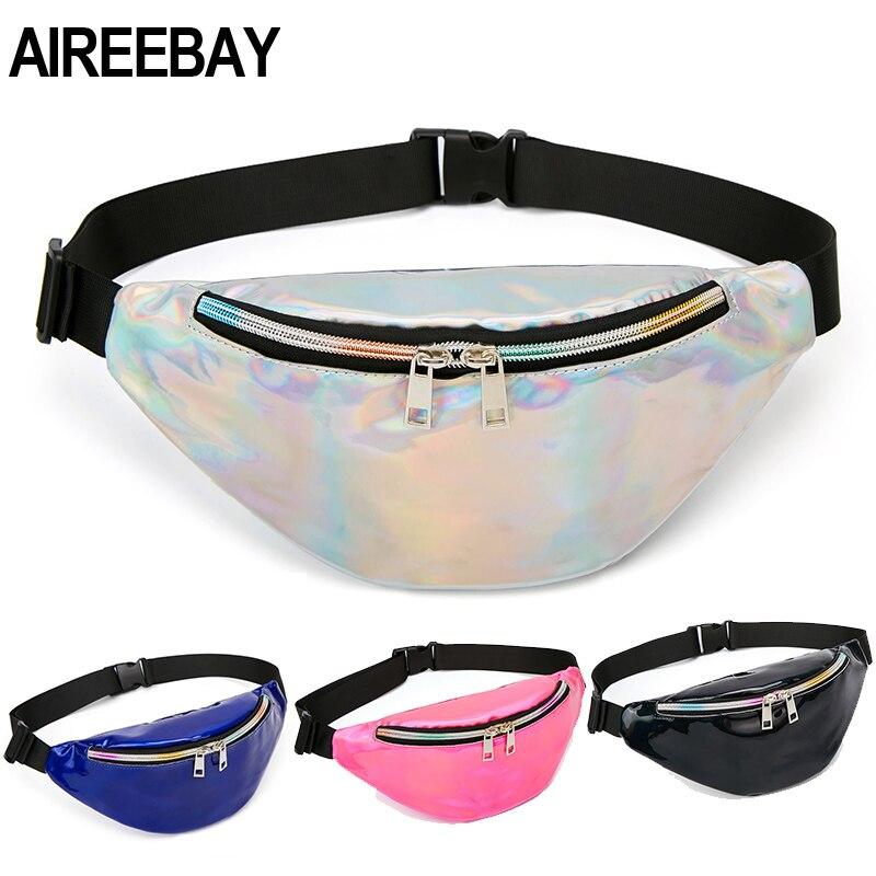 AIREEBAY Women Fanny Pack Hologram Pink Blue Laser Chest Bags Silver Reflective Shoulder Bag Women's Belt Bag Waist Pack