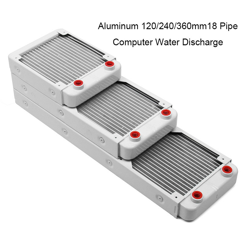 120/240/360mm Aluminium Computer Water Cooling Radiator Water Discharge Liquid Heat Exchanger Thread Radiator Water Cooler White