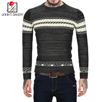 John S Bakery Brand 2017 New Fashion Autumn Casual Sweater Striped Embroidery Slim Fit Knitting Mens