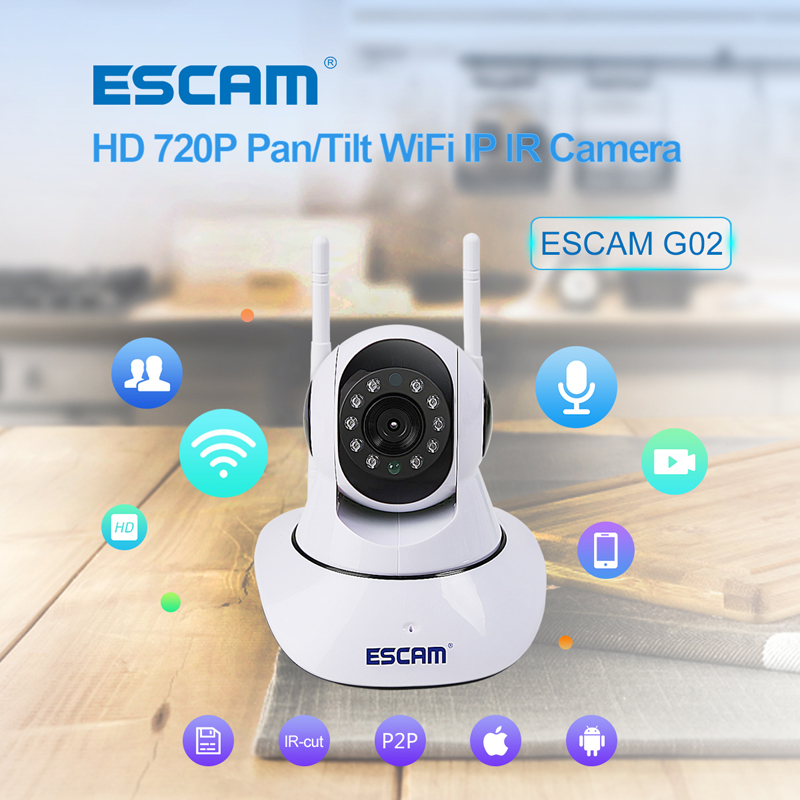 ESCAM G02 Dual Antenna 720P Pan/Tilt WiFi IP IR Camera Support Two Way Audio ONVIF Max Up to 128GB Security Wireless Camera escam g02 wifi ip camera 720p infrared mini dome pan tilt ir cut two audio dual antenna cctv indoor security camera night vision page 3