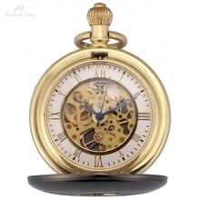 KS IP Gun Metal Polished Hunter Skeleton Steampunk Golden Roman Chain Onion Crown Hand Winding Mechanical Pocket Watches /KSP089