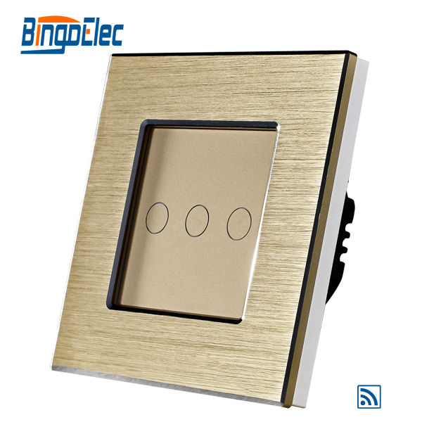 Bingolec EU Standard CE certification Golden Aluminum Metal 3gang 1way Wall Switch with Remote Function 433.92MHZ Light switch livolo remote switch with crystal glass panel wall light remote touch led indicator 3gang 1 way vl c503r 11 12 without remote