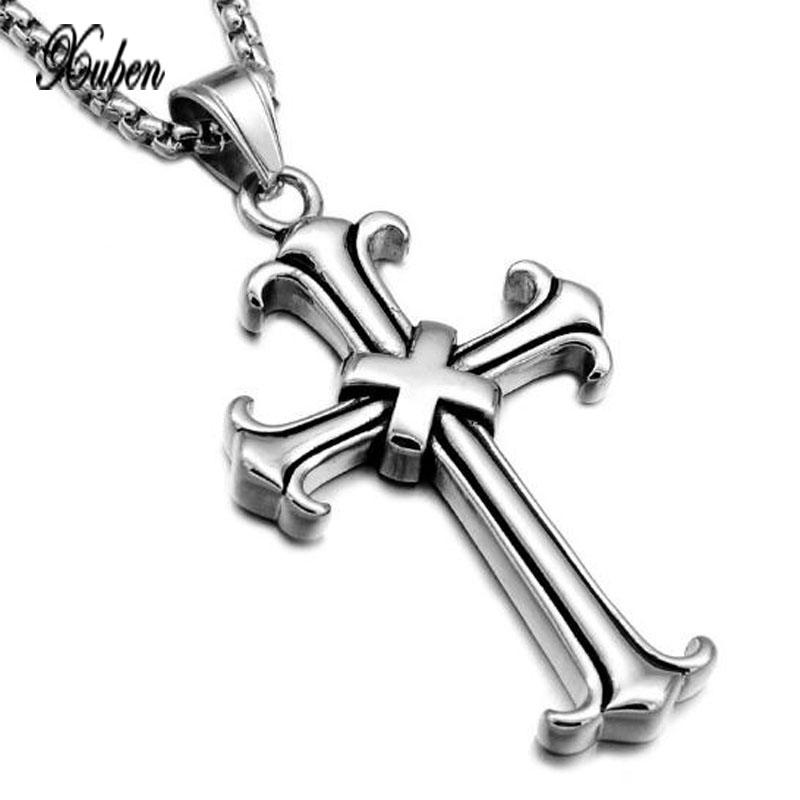 XUBNE Europe and United States silver chain retro stainless steel titanium cross pendant necklace colar cadeia золотые серьги по уху