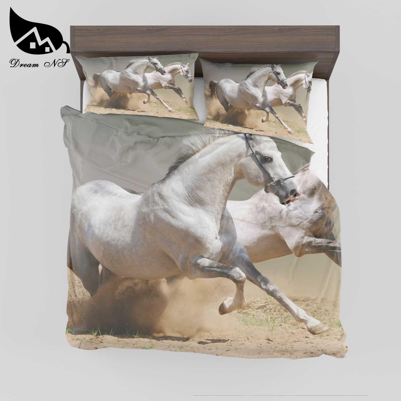 夢 NS 3D 効果プリント馬寝具コンフォーキルトカバー枕ケース王ダブルダブルサイズのベッドルームホームテキスタイル SMY18