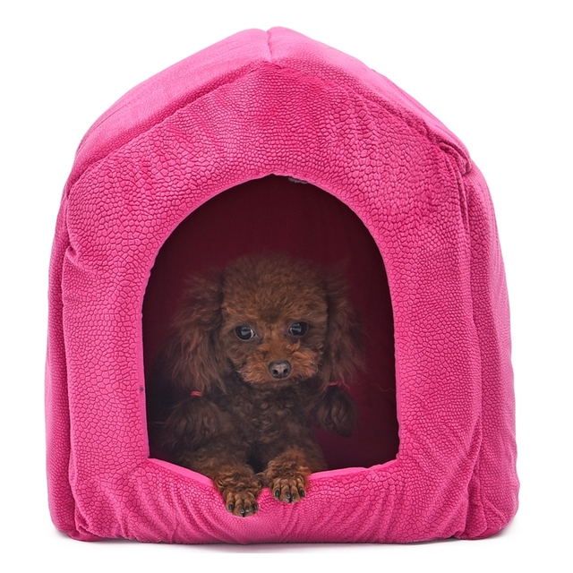 Pet Dog Cat Dome Bed Kitten Cave Cubby Cozy Baskets House Embossed Crate Warm Windproof Dog Puppy Kennel Cat Cushion Kitten Mat 3