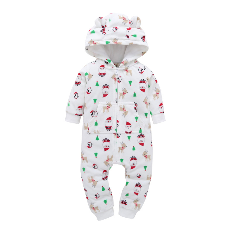Christmas 2018 autumn winter infantil newborn baby boy girls one piece Long Sleeved Cartoon jumpsuit with hoodie footie cotton