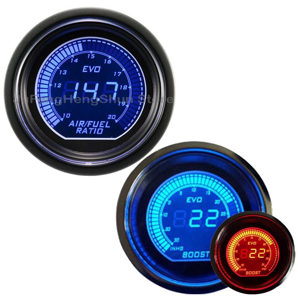 2 pouces 52mm voiture Turbo Boost jauge à vide Psi Air niveau de carburant jauges bleu et lumière LED rouge 12 V teinte lentille Auto numérique mètre