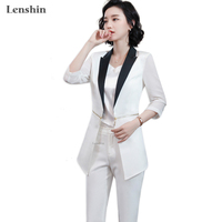 2 Pieces Set Pant Suit Summer Wear Formal Fashion Style Women Office Lady Work Three Quarter Perspective Jacket with Trouser