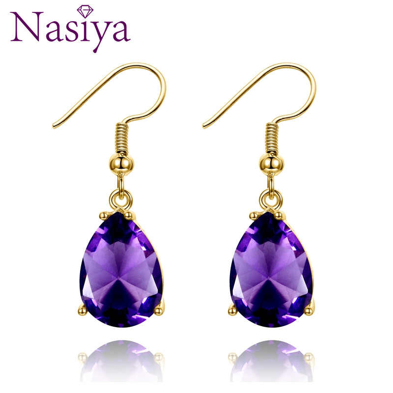 Golden Color Hotsale Gemstone Drop Earrings Amethyst Garnet Peridot Sapphire Earrings For Women 925 Sterling Silver Fine Jewelry