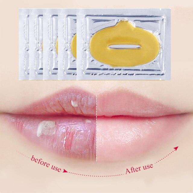 5pcs Collagen Crystal Gold Gel Lip Mask Anti-Aging Anti-wrinkle Patch Moisturizer Lip Plumper Collagen Nourish Lips Care Masks