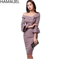 HAMALIEL New 2018 Fashion Bodycon Autumn Women OL Dress Korean Off Shoulder Three Flare Sleeve Pencil