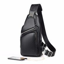 f4e37b2836cb 2018 jackkewin модная мужская сумка на плечо Burglarproof черная кожаная  мужская нагрудная сумка зарядка через usb дорожные сумк.