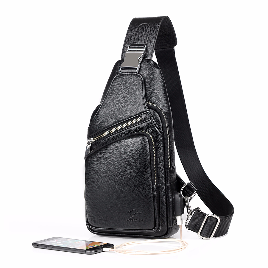 2019 Jackkevin Fashion Mens Shoulder Bag Burglarproof Black Leather Mens Chest Bag USB Charging Crossbody Bags Travel Bag