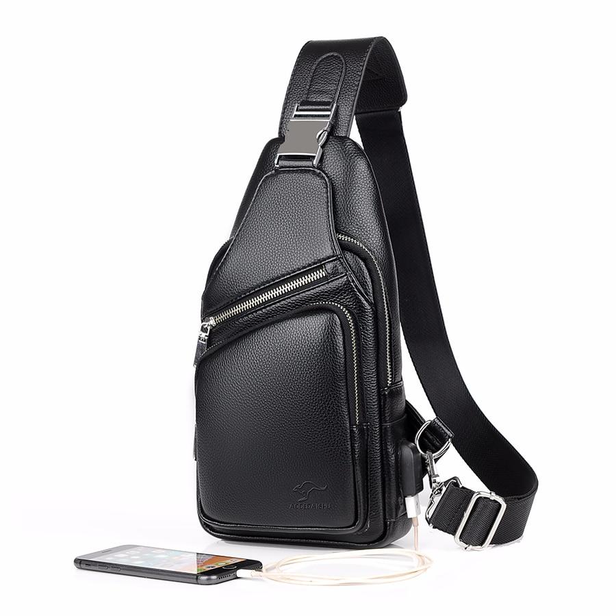 2019 Jackkevin Fashion Mens Shoulder Bag Burglarproof Black Leather Mens Chest Bag USB Charging Crossbody Bags Travel Bag