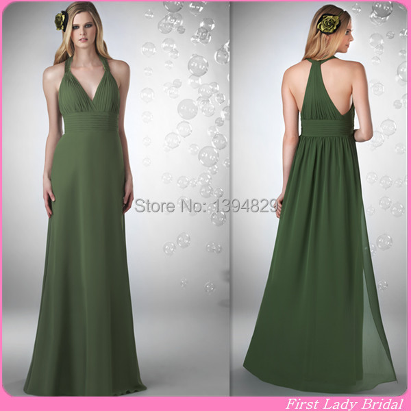 644b1530ff0 Youthful Olive Green Bridesmaid Dresses Halter V-neck Chiffon A-line Long  2014-2015 Custom Made Vestido De Madrinha