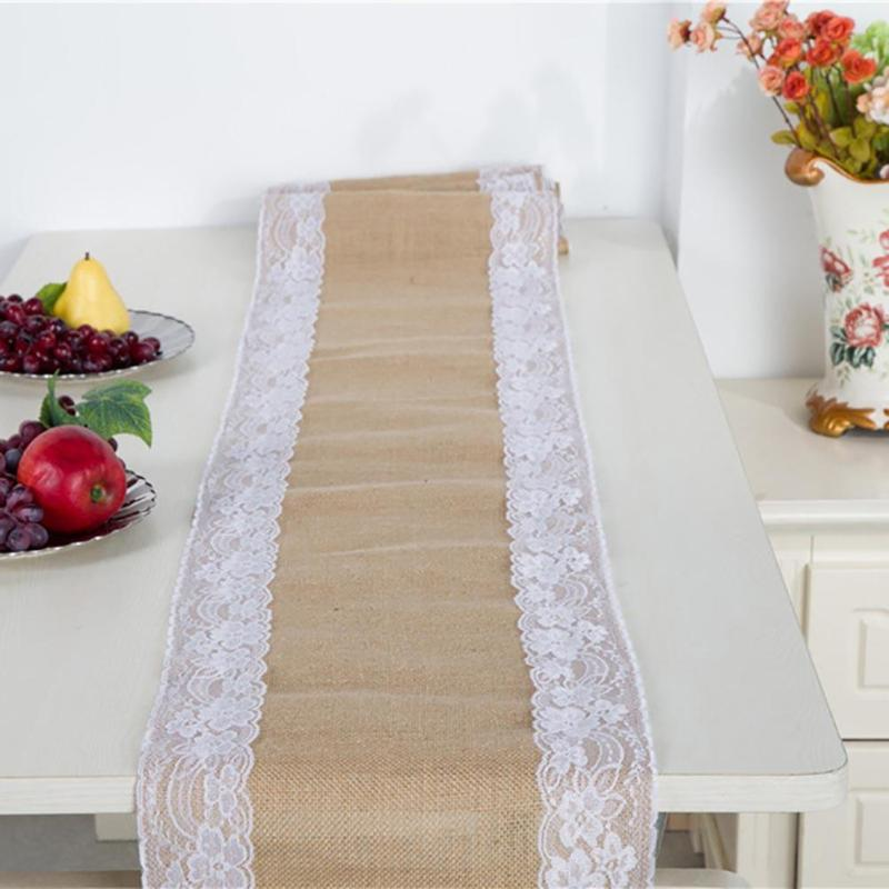 Vintage Burlap Lace Hessian Table Runner Natural Jute Party Wedding Decor E5M1