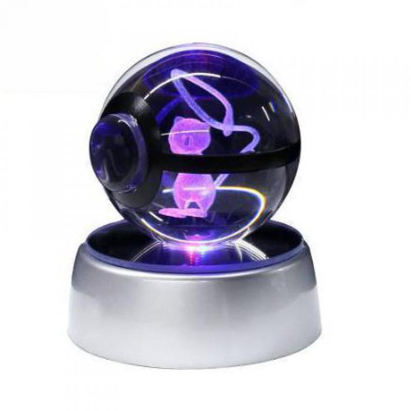 Ibrahimovic Pokemon Crystal Transparent 3D Night Light Diameter 5cm Glass Ball Crtoon Animals Design Inside Action Figures