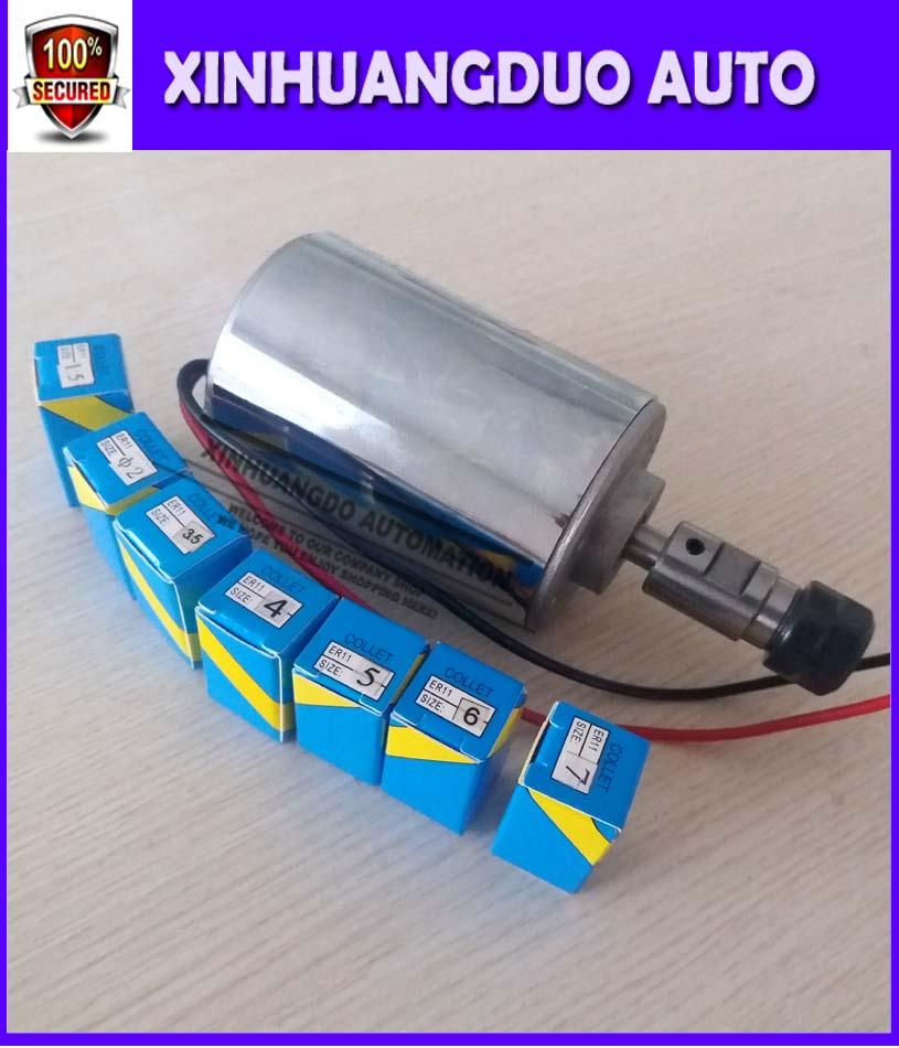 High Speed CNC Starter 12-48V ER11,12000rpm, 200 W Mini Spindle Motor, Diy Spindle Motor For Cnc Starter+ ER11 Chuck (1mm-7mm)