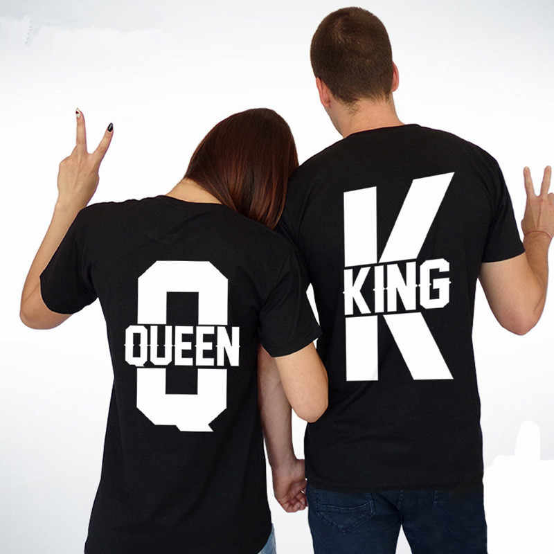 b2c54b4496 Detail Feedback Questions about Matching New Couple Outfit 2018 New King  and Queen Graphic Print Short Sleeve T Shirts Casual Lover Clothes White  Unisex T ...