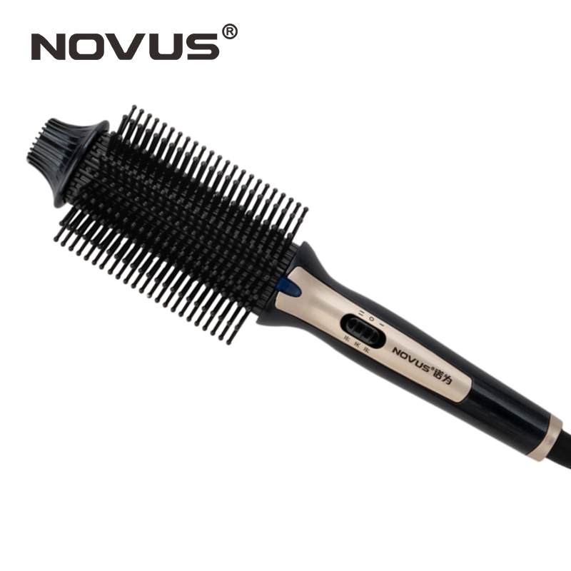 NOVUS Electric Hair Straightener Iron Brush Ceramic Hair Curler Dual-use Straight and Curl Comb Air Bangs Women Styling Tools novus electric hair straightener iron brush ceramic hair curler dual use straight and curl comb air bangs women styling tools
