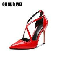 Kích Thước lớn 34-43 Bằng Sáng Chế Da Phụ Nữ Sexy Bơm Đỏ Đen Stiletto Toe Nhọn Cross-Gắn Mùa Hè Mỏng Giày cao Gót Dép