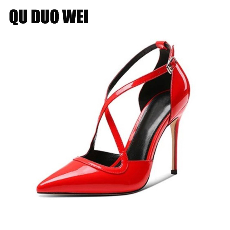 Large Size 34-43 Patent Leather Sexy Women Pumps Red Black Stiletto Pointed Toe Cross-Tied Summer Thin High-Heeled Shoes Sandals bigtree summer shoes women elegant pumps pointed sexy ultra thin high shoes high heeled shoes hollow sweet stiletto g3168 3
